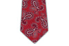 100% Silk Extra Long Tie - Scarlet Red Paisley Pattern for Big and Tall Men
