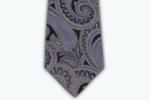 100% Silk Extra Long Tie - Blue and Silver Paisley Pattern for Big and Tall Men