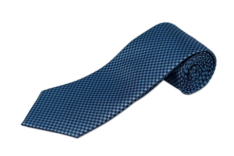 bd52fd66efdd 100% Silk Extra Long Tie - Light Blue and Navy Houndstooth for Big and Tall