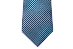 100% Silk Extra Long Light Blue and Navy Houndstooth Tie