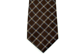 100% Silk Extra Long Brown Diamond Patterned Tie for Big and Tall Men