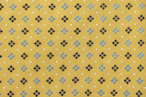 100% Silk Extra Long Yellow Diamond Pattern  Tie