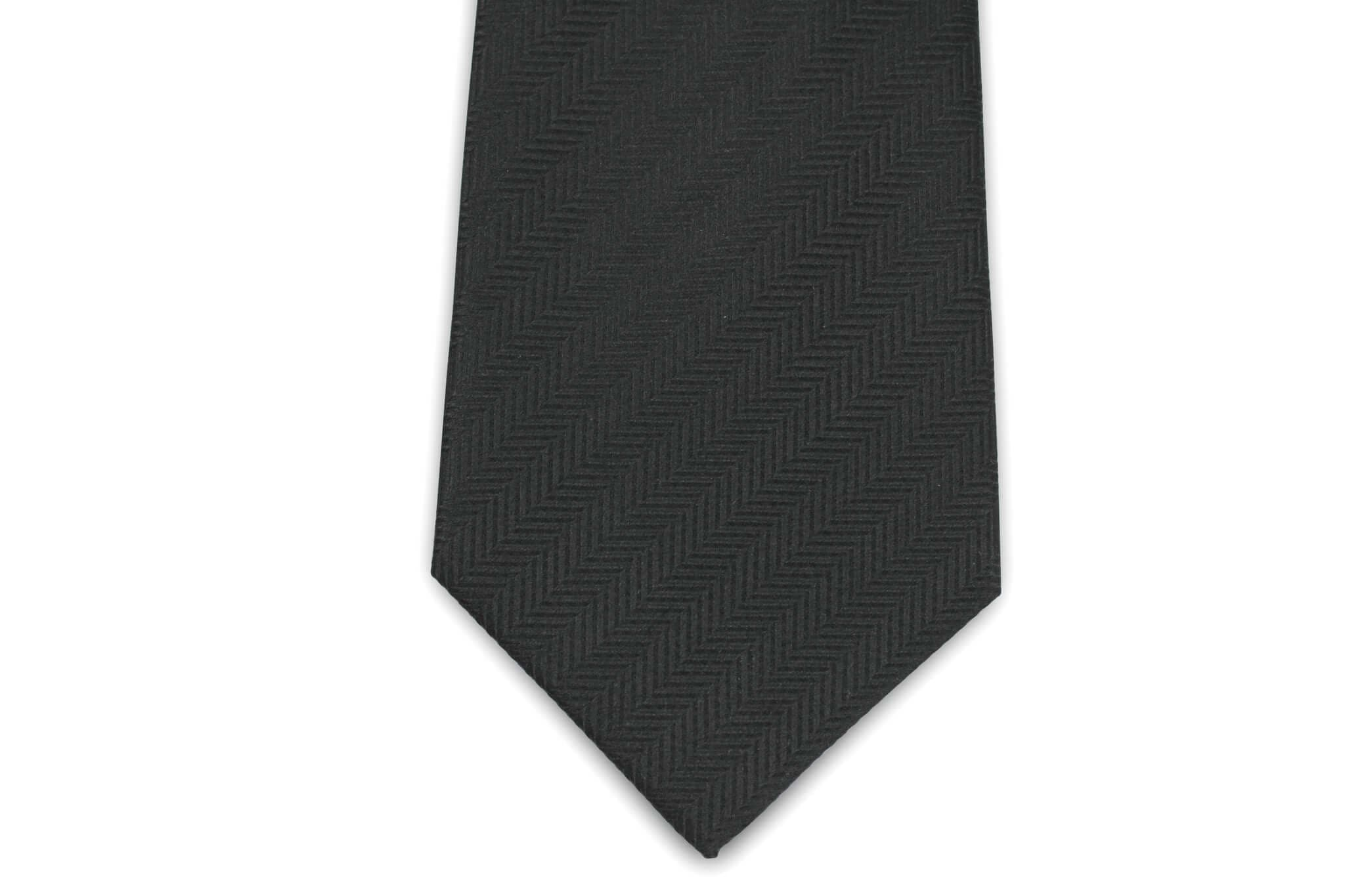 c80cee438c27 100% Silk Extra Long Solid Black Herringbone Tie for Big and Tall Men