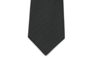 100% Silk Extra Long Solid Black Herringbone Tie