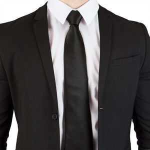 100% Silk Extra Long Solid Black Tie
