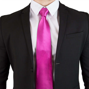 100% Silk Extra Long Solid Fuchsia Pink Tie