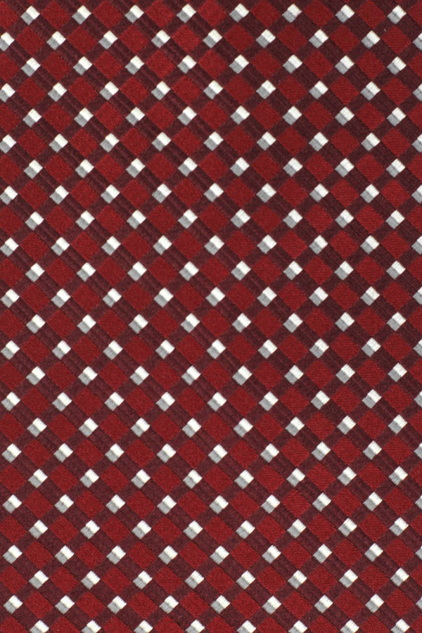 Extra Long Ties - 100% Silk Extra Long Deep Red Patterned  Tie