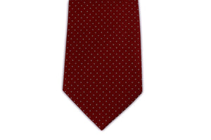 Extra Long Ties - 100% Silk Extra Long Red Tie With Silver Dots
