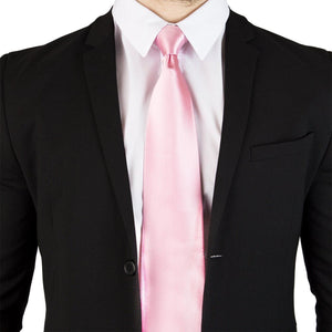 Extra Long Ties - 100% Silk Extra Long Solid Pink Tie