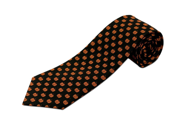 Extra Long Ties - 100% Silk Extra Long Tie With Jack-o-lantern Halloween Novelty Tie