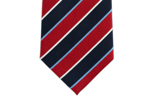 Extra Long Ties - 100% Silk Extra Long Tie With Red And Navy Stripes