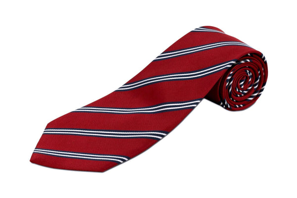 Extra Long Ties - 100% Silk Extra Long Tie With Red And Triple Navy Stripes