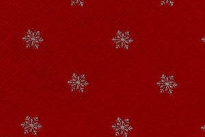 Extra Long Ties - 100% Silk Extra Long Tie With Red Christmas Holiday Snowflake