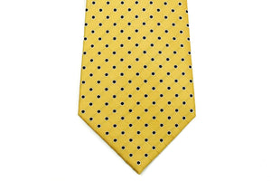 Extra Long Ties - 100% Silk Extra Long Yellow And Navy Polka Dot Tie