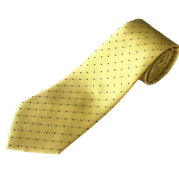 Extra Long Ties - 100% Silk Extra Long Yellow Tie With Navy Dots
