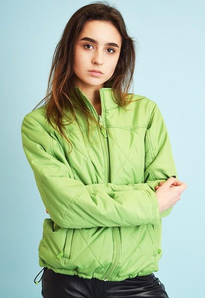Vintage 90's retro sports green puffer padded jacket