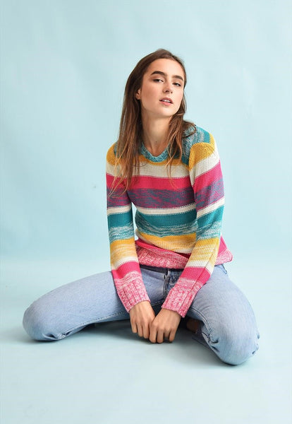 90's retro striped jazzy knit festival jumper top