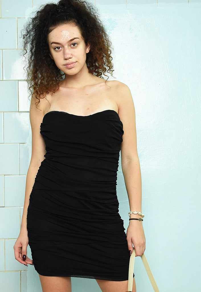 Vintage Y2K 00s mesh mini tube bandeau ruffle dress black