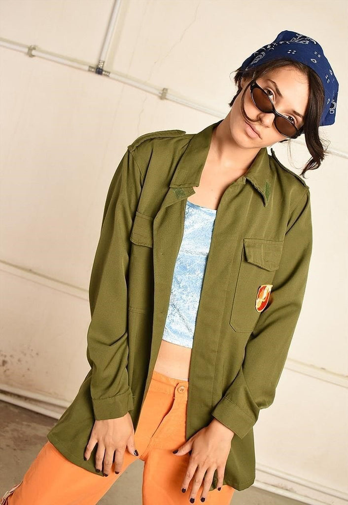 Vintage 90s festival military style shirt top in khaki