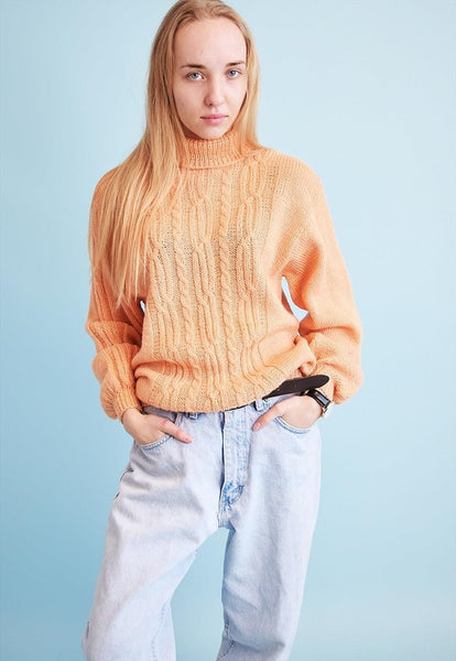 90's retro pastel Aran style knitted Moms jumper top
