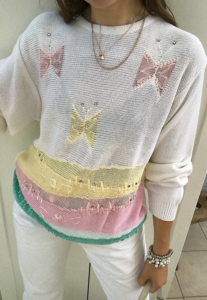 Vintage 80s butterfly pattern pastel ribbon knit jumper