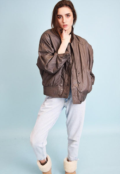 80's retro grey genuine leather oversized bomber jacket top