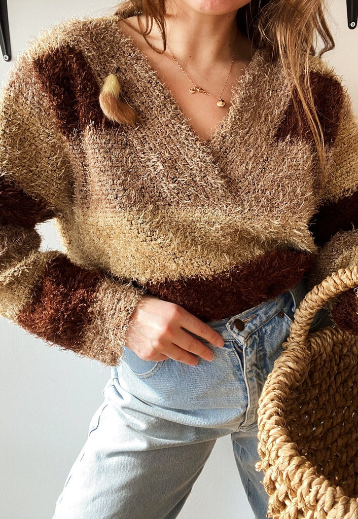 Vintage 80s Boho fluffy furry oversized knit jumper sweater