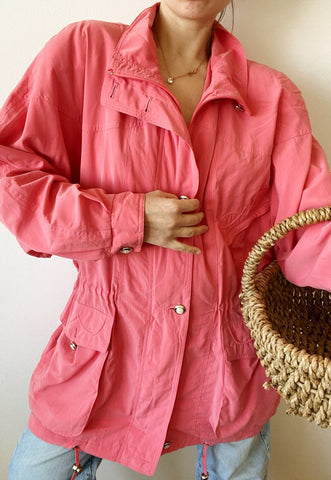 Vintage 80s Barbie pink outwear oversized parka jacket