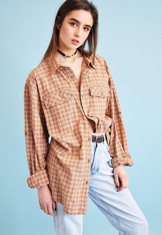 90's retro grunge checked oversized Dads shirt top