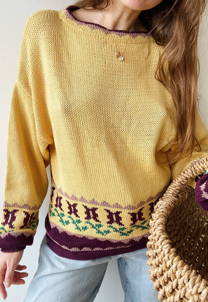 Vintage 80s Fair Isle Folk Milkmaid knit cropped jumper