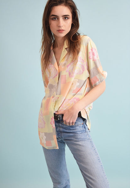 90's retro abstract print oversized Moms blouse top