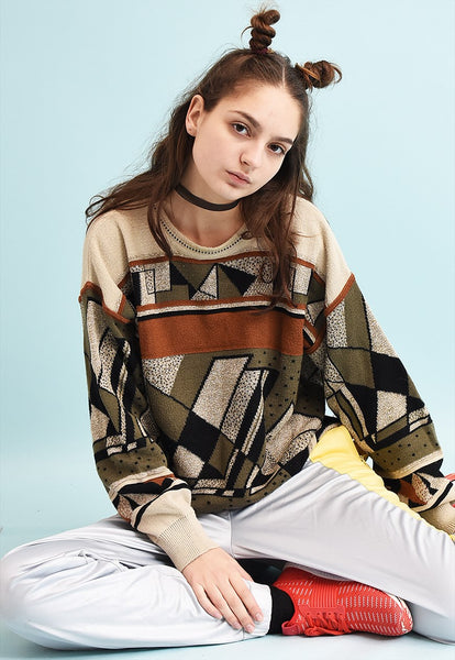 90's retro abstract pattern slouchy knit jumper