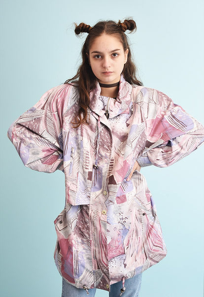80's retro athleisure abstract print parka jacket