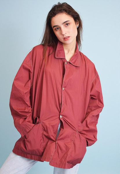 90's retro maroon athleisure sports shimmer rain jacket