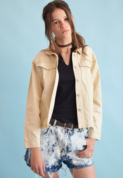 90's retro neutral denim teen crop jacket top