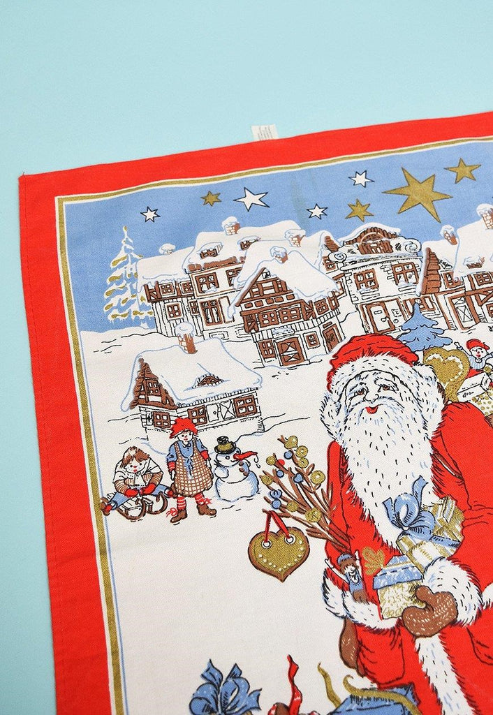 Vintage 80's Christmas Santa kitchen tea towel