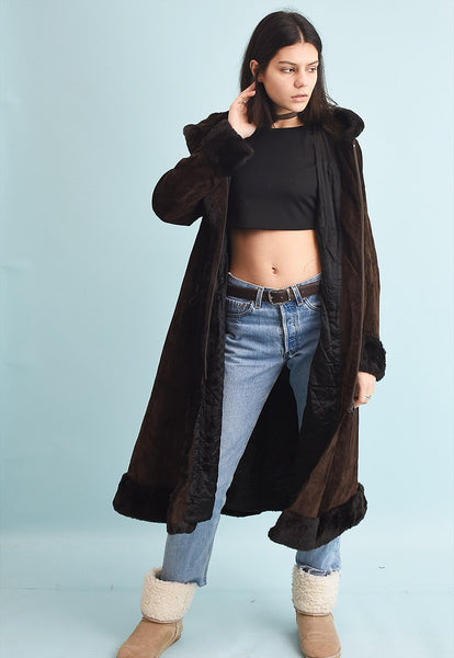70's retro real suede faux fur detailed long coat