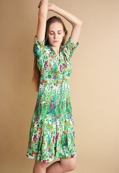 70's retro Boho floral pattern elegant midi dress