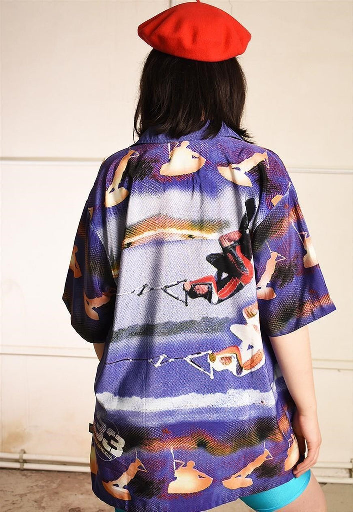 90's wakeboarding print festival oversized Dads shirt top