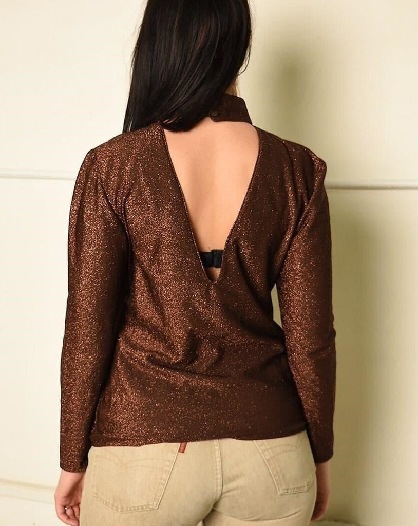 VIntage 70s Paris chic shimmer party top in brown