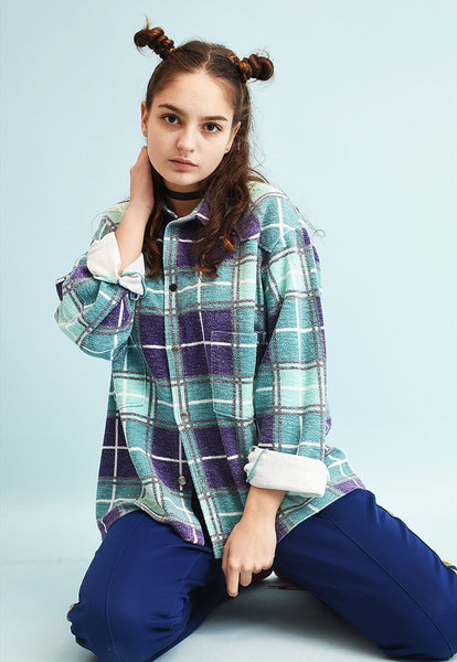 90's retro checked print oversized Dads workwear warm shirt