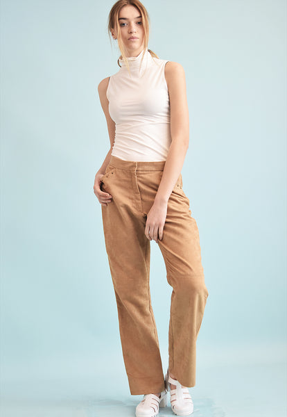 90's retro Boho festival faux suede oversized trousers