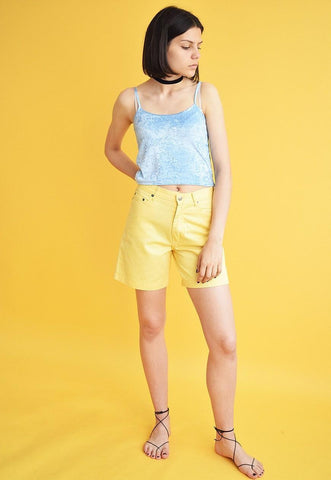 90's retro high waist yellow thin denim shorts