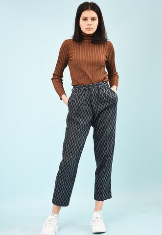 80's retro tapestry high waist short cut trousers