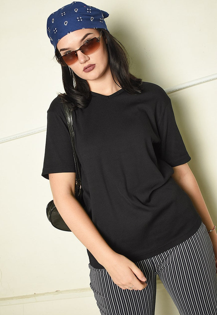 Y2K retro oversized basics ribbed t-shirt top in black