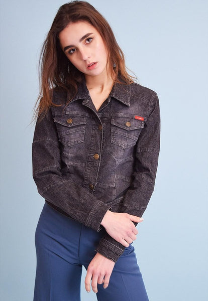 90's retro stonewash denim cropped jacket top