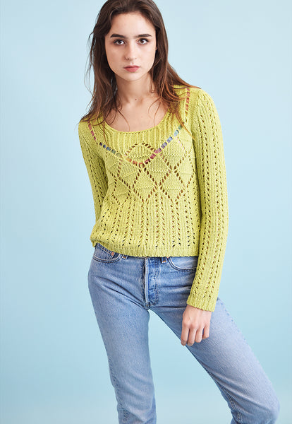 90's retro knitted sheer teen jumper top