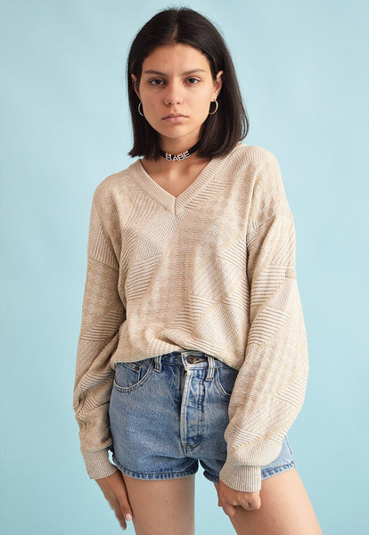 90's retro knitted neutral oversized Dads jumper top