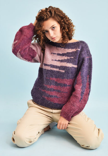 80's retro jazzy abstract pattern knit jumper