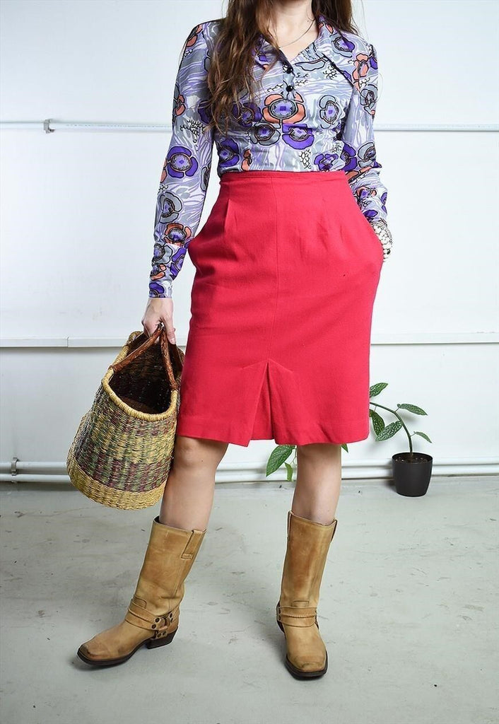 Vintage 80s highwaisted pink mini pencil skirt